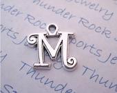 Antique Silver Plated Curlz Letter M Alphabet Initial Charms Pendants
