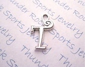 Antique Silver Plated Curlz Letter T Alphabet Intial Charms Pendants