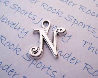 Antique Silver Plated Curlz Letter N Charms Pendants Alphabet Initial
