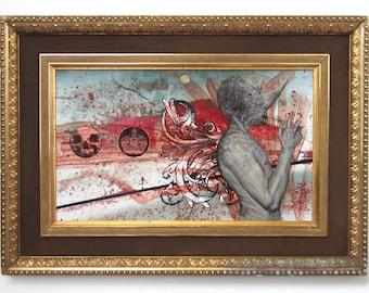 The Decision - Original Mixed Media Oil Painting - MAN -Skull - Signed - FETISH Art - ANTIQUE Frame