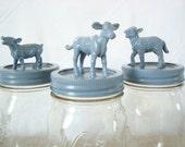 home decor - storage jars: blue, cow, sheep, pig