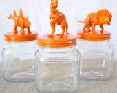 orange dinosaurs - animal jars - storage containers