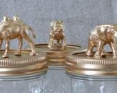 animal jars / gold / elephant / camel / tiger / storage / canisters / mason jars