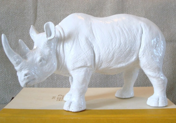white rhino - faux taxidermy - animal statue - nursery decor