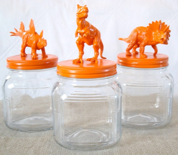 orange dinosaurs - animal jars - storage containers