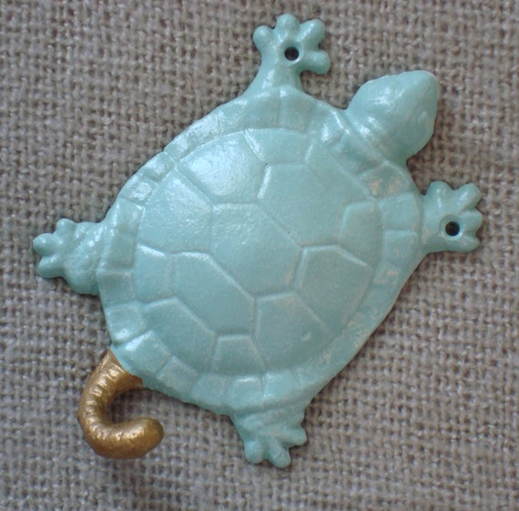 turtle / wall hook / gold / pastel / blue green / animal / jewelry storage / home decor