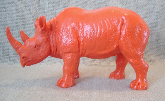 Rhino / Orange Red / Home Decor / Animal Statue / Bookshelf