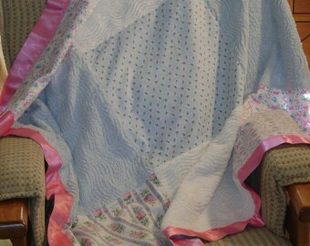 Pink & Blue Floral Baby Girl Chenille Blanket