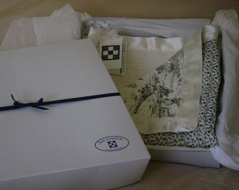 Ivory & Black Toile Floral Baby Chenille Blanket