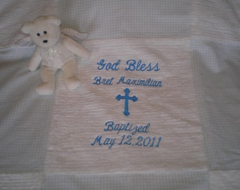 Boy's Baptism or Christening Blanket