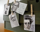 Set of four pocket philosophy portrait prints - Marx, Kierkegaard, Nietzsche, and Kant