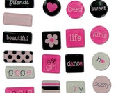 STICKERS - Pink and Black -  VALENTINE - Girl Friend Expressions Tile