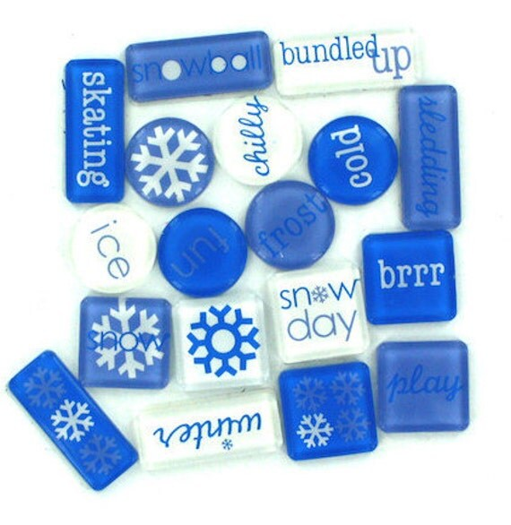 Stickers Snow Winter Blue White Dimensional Acrylic Tile