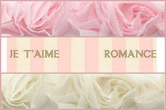Ribbon Pink Fabric Roses Romance Words Valentine Vintage