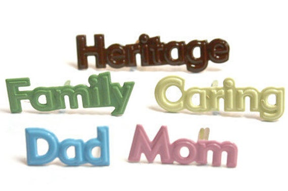 BRADS / Scrapbook Card Supplies / Family Words Heritage Dad Mom Caring