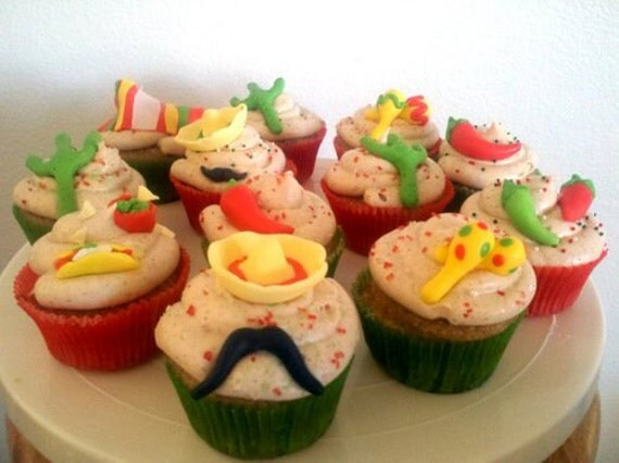 Cinco De Mayo Fondant Cupcake Toppers
