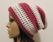LazyDay Slouch Beanie - Berry and White Stripes - made to order