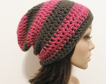 LazyDay Slouch Beanie - Berry Gray Stripes - made to order