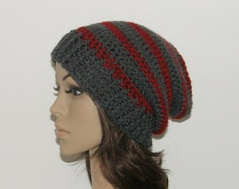 Everyday Slouch Hat - Gray Red Stripes - made to order