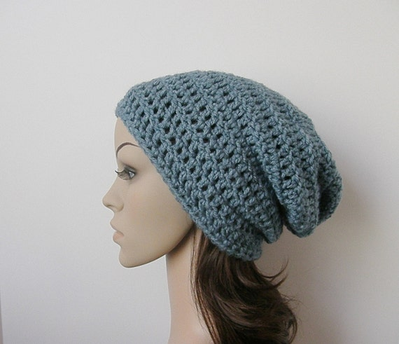 LazyDay Slouch Beanie - Dusty Blue - made to order