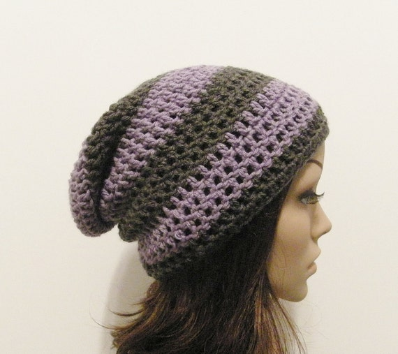 LazyDay Slouch Beanie - Lavender Gray Stripes - made to order
