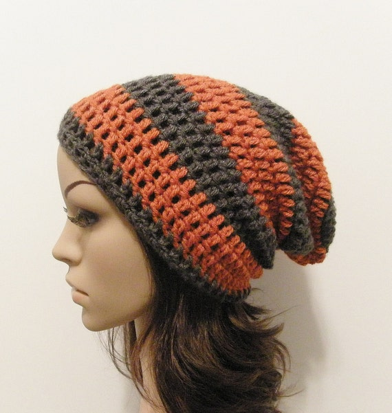 LazyDay Slouch Beanie - Terracotta Gray Stripes - made to order