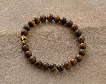 Tiger Eye, Day of the Dead Beaded Bracelet