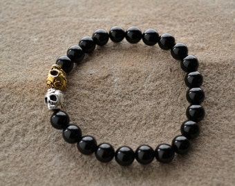 NEW - Black Onyx, Silver and Gold Double Day of the Dead Skull Bracelet