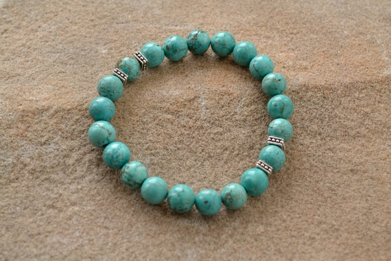 Semi-precious Turquoise with Silver Accents, Beaded Bracelet