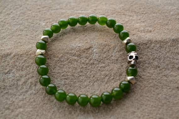 NEW - Sage, Silver Chip, Silver Day of the Dead Skull Bracelet