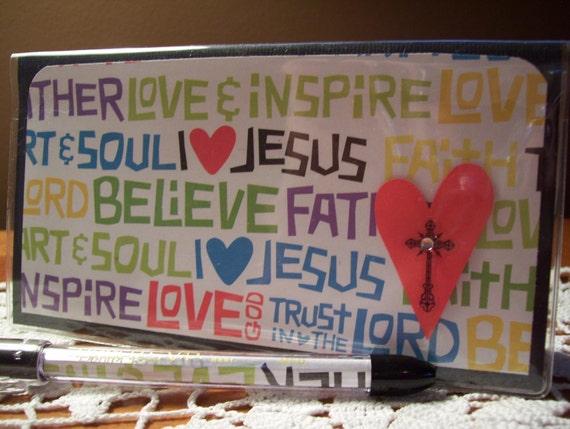 "I ""Heart"" Jesus Vinyl Checkbook Cover w/ Matching Pen"