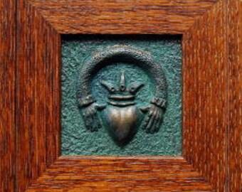 Claddagh, Claddagh tile, Mission quarter-sawn fumed white oak frame, Irish Claddagh, wedding gift, wall art, Home decor, celtic, druid art