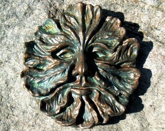 Greenman, Green Man, stone sculpture, greenman plaque, Lg. Greenman garden art, garden and yard art, medieval art decor, Myth and Magick