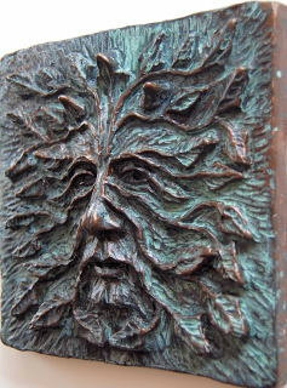 "Woodman, Greenman, Green man, Greenman art Tile 6"" x 6"", Green man tile, celtic tile, greenman art, Green man sculpture, Greenman Plaque"
