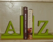 Green Wood A - Z Bookends Reserved for Amanda