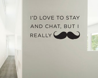 I Really Mustache Vinyl Wall Quote Decal Sticker - Mustache Decal, Mustache Sticker, Hipster Decal, Handle Bar Mustache, Funny Wall Decal