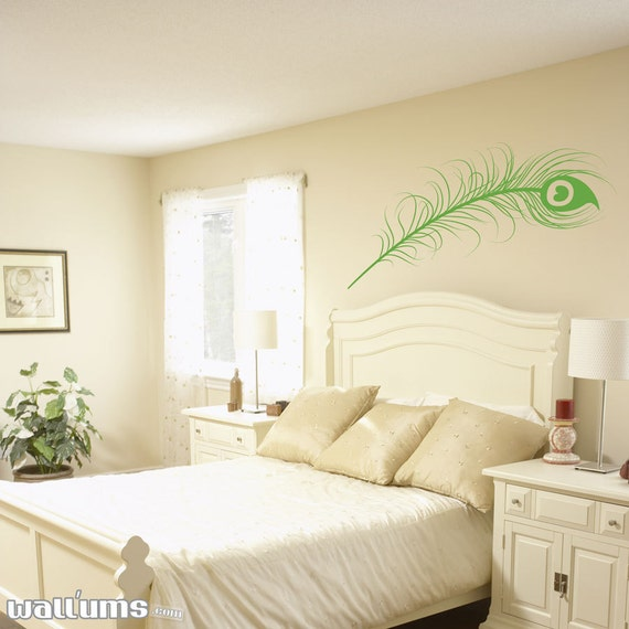 """Peacock Feather Wall Decal 48"""" x 21"""" - Peacock Decal, Peacock Feather Art, Feather Wall Decal, Feather Wall Art, Peacock Wall Art"""