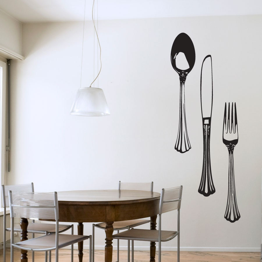 Fancy silverware set vinyl wall decal sticker kitchen wall for Dining room vinyl wall art
