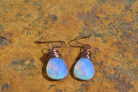 Moonstone & copper teardrop earrings -  handmade boho earrings