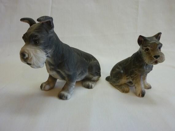 Pair of Ceramic Dog Figurines, Schnauzer or Terrier