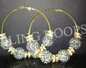 NEW Bling Hoops Basketball Wives Poparazzi Rhinestone Earrings