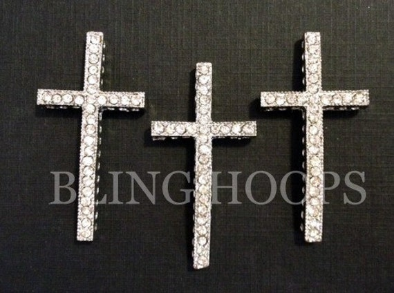 NEW Bling Hoops 3 Silver Sideways Rhinestone Cross Charm Bracelet Basketball Wives Love and Hip Hop Poparazzi