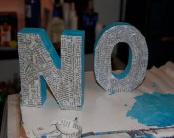 NO or ON letter sculpture