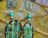 Silver, teal, and brown threaded earrings