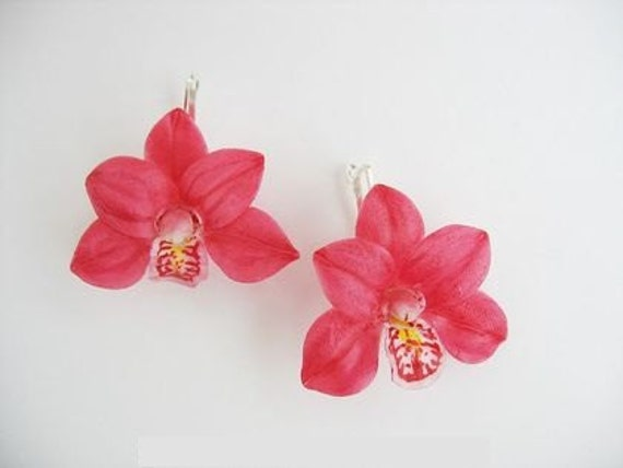 Handmade Polymer Clay Bright Red Corral Orchid Earrings