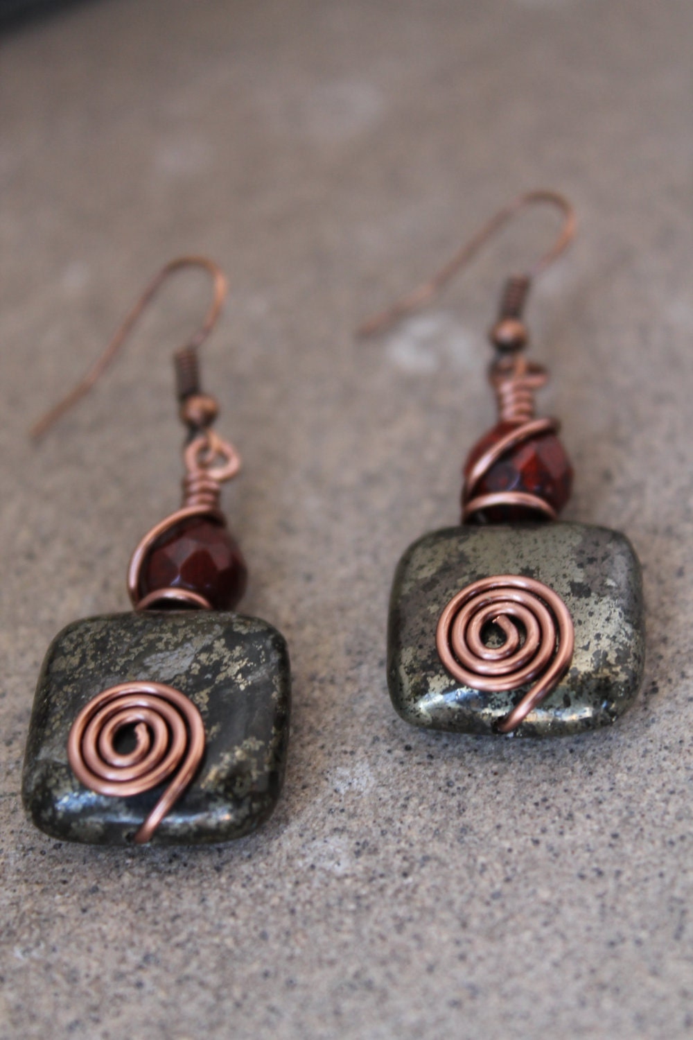 made earrings wire wrapped jewelry handmade rustic earrings antique 9487