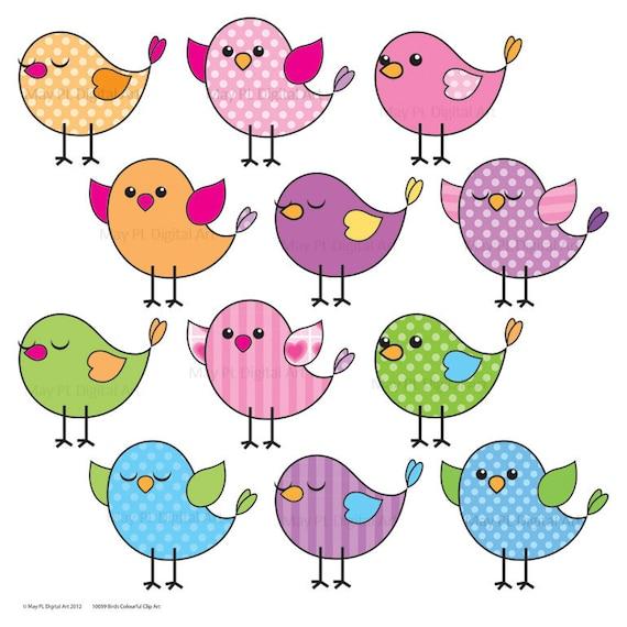 Cute Birds Clipart Clip Art Pink Blue Purple Green Tweet Tweet