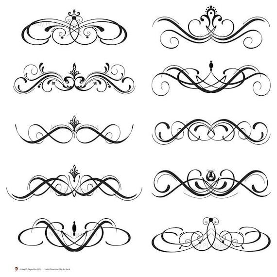 Digital Stamp Design Flourish Rose Border Corner Clip Art: Digital Clipart Clip Art Flourish Swirls By MayPLDigitalArt