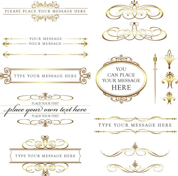 calligraphy vintage clip art clipart gold diy by With wedding invitation text divider