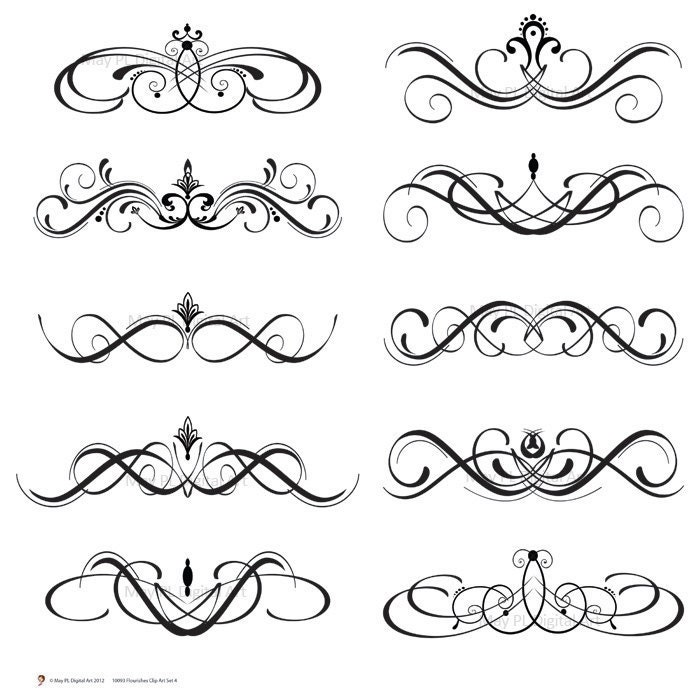 Digital Clipart Clip Art Flourish Swirls By Maypldigitalart